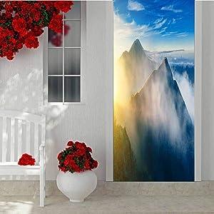 3D Door Mural Decals Wall Murals Wallpaper, Volcano Scenery in The Morning Mount Batur Bali Indonesia, Peel and Stick Removable Door Decal for Home Decorative W30.3 x L78.7 Inch