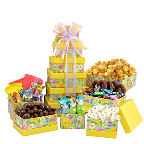 Broadway Basketeers Easter Gift Basket Gourmet Chocolate Easter Treasures Gift Basket Tower Assortment - Springtime Easter Gift Tray