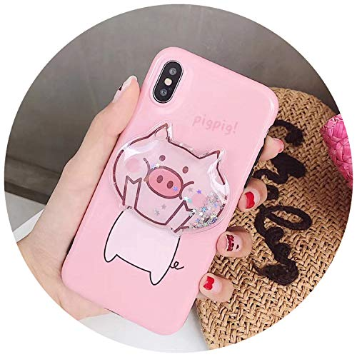 3D Pink Lovely Pig Case for iPhone X 7 8 6 6S Plus Phone Case Glitter Liquid Sand Quicksand Star Back Cover Capa Fundas,Pink Pig,for iPhone 8 (For 3d Iphone Cases 4 Pizza)