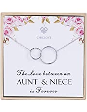 CHICLOVE Aunt and Niece Gift The Love Between Aunt & Niece is Forever Sterling Silver Necklace Aunt Niece Jewelry