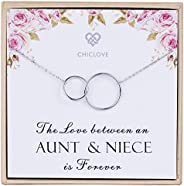 CHICLOVE Aunt and Niece Necklace - 925 Sterling Silver Two Interlocking Infinity Double Circles Necklace Aunt