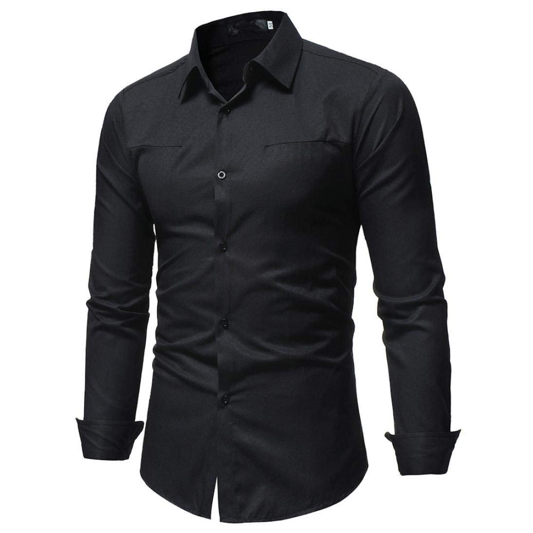 JaHGDU Mens Shirt Style and Solid Color Male Casual Long Sleeve Shirt Fashion Slim Fit Black Blue Wild Tight for Men