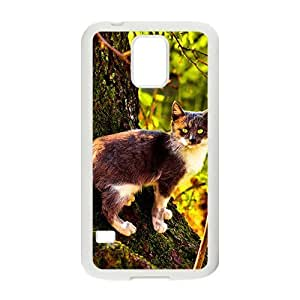 Autumn Trees And Cute Cat White Phone Case for Samsung Galaxy s5