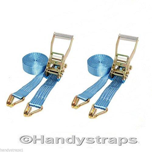 2 x 8 meter x 50mm Blue Ratchet Tie Down Straps 5 tons HandyStraps