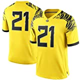NCAA Mens #21 Yellow Oregon Ducks Game Football Jersey S