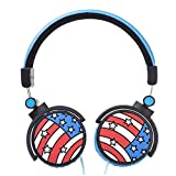 Kuear Headphone On-Ear,Wired Stereo Headsets with Microphone and Volume Control, Silicone Flag Pattern, Lightweight, Powerful Bass for Kids Adults Girl Boy CellPhones Computer PC Tablet