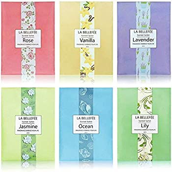 LA BELLEFÉE Scented Sachet, (1.06oz X 6packs) Fragrance Packets Perfume Envelopes Sachets, Idea Gift for Home, Wardrobe, Drawer, Car, Closets