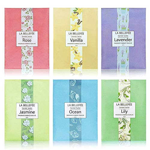 LA BELLEFÉE Scented Sachet, (1.06oz X 6packs) Fragrance Packets Perfume Envelopes Sachets, Gift Idear for Home, Wardrobe, Drawer, Car, - Fragrance Sachet