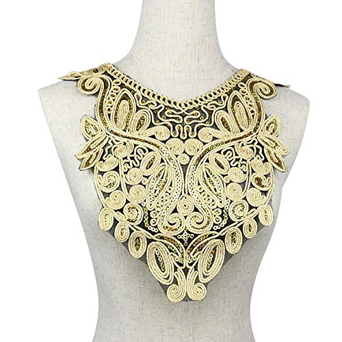 1pc Gold Embroidery Ethnic Style Collar Venise Sequin Floral Embroidered Applique Lace Neckline Collar Garment -