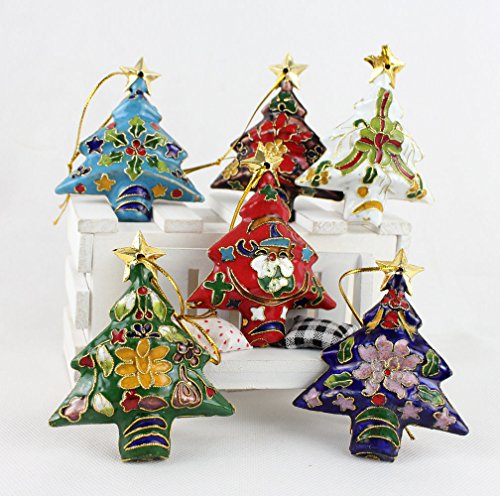 Filigree Cloisonne (ARTIST Collectibles 10pcs Chinese Handmade Cloisonne Enamel Christmas Tree Ornament Charm)