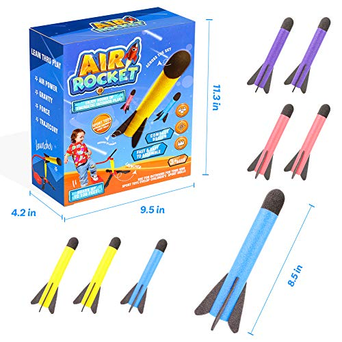 LovesTown Jump Rocket Launcher Toy, Jump Rocket Set with 8 Pcs Foam Rockets Toy Rocket Launchers for Kids Outdoor Rocket Toy Gift for Boys and Girls