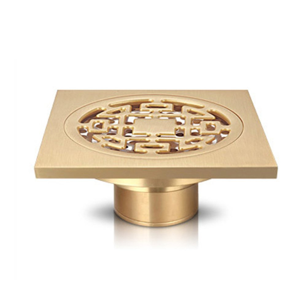IBEUTES Classic Square Polished Brass Finish Floor Drain Cover Engraving Kitchen and Bathroom Floor Drain Shower Ground Drainer Gold Color Filter Floor Drain Strainer,Removable And Leak-Proof