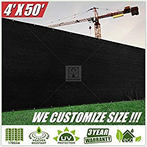 ColourTree 4′ x 50′ Black Fence Privacy Screen Windscreen Cover Fabric Shade Tarp Netting Mesh Cloth – Commercial Grade…