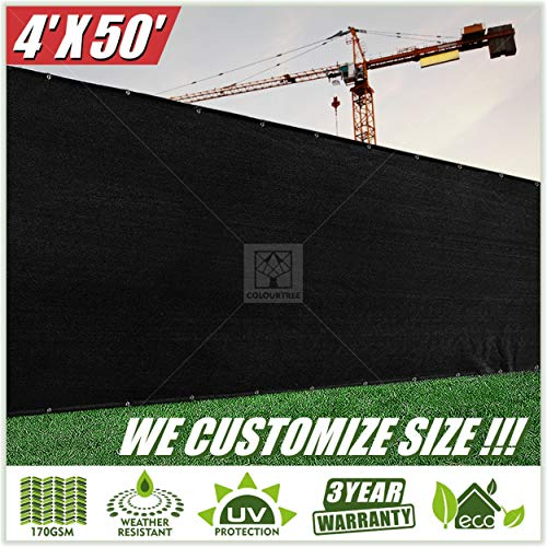 (ColourTree 2nd Generation 4' x 50' Black Fence Privacy Screen Windscreen Cover Fabric Shade Tarp Netting Mesh Cloth - Commercial Grade 170 GSM - Heavy Duty - 3 Years Warranty - CUSTOM SIZE AVAILABLE)