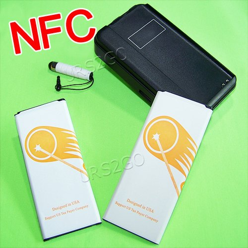 Galaxy Note 4 Battery, URS2GO [2 Batteries + Charger] 2x 4900mAh Spare Replacement Li-ion NFC Battery Combo with Portable USB Travel Wall Charger for Samsung Galaxy Note 4 SM-N910T N910F