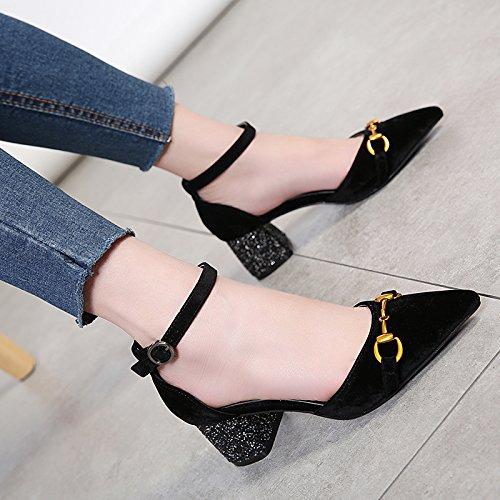 Zapatos de con Zapatos para Gruesa Coreana Profunda KPHY de Tacón Poco con Muelle negro Punta de Boca Alto Hueca Hebilla 4q6EwX