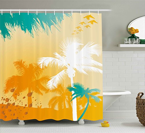 Ambesonne Tropical Shower Curtain, Grunge Style Vibrant Palms Silhouette Paradise with Funky Retro Graphic, Fabric Bathroom Decor Set with Hooks, 70 Inches, Marigold Teal White