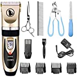 Ceenwes Dog Clippers Low Noise Pet Clippers Rechargeable Dog Trimmer Cordless Pet Grooming Tool Professional Dog Hair Trimmer with Comb Guides Scissors Nail Kits for Dogs Cats & Others