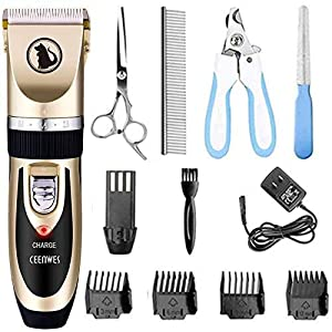 Ceenwes Dog Clippers Low Noise Pet Clippers Rechargeable Dog Trimmer Cordless Pet Grooming Tool Professional Dog Hair…