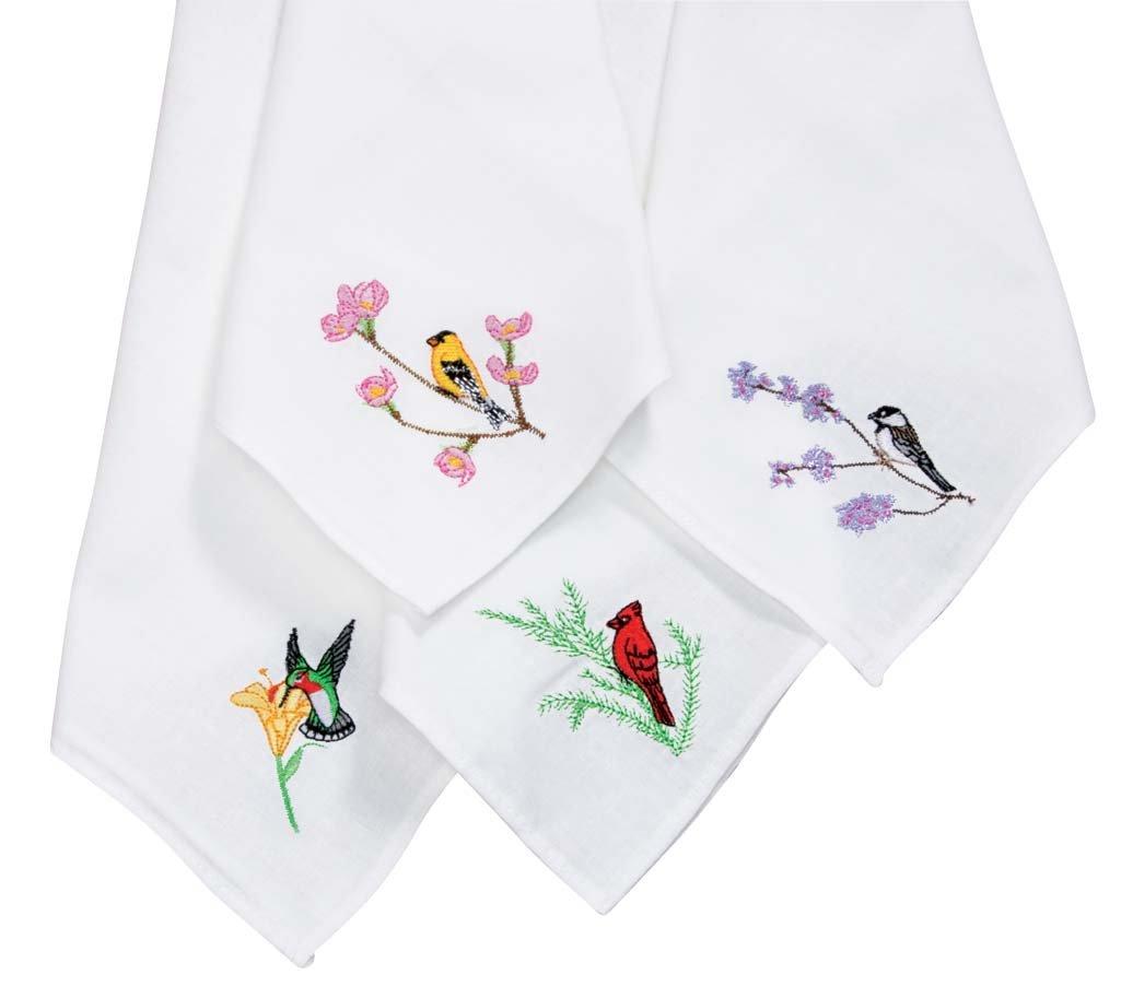 Embroidered Bird Handkerchiefs Set of 12 MSR 2743