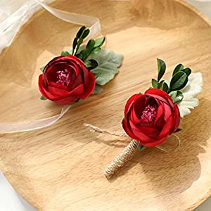 Florashop Satin Peony Buds Corsage and Boutonniere Pack Wedding Bridal Bridesmaid Wrist Corsage Band Men's Groom Bridegroom Boutonniere for Wedding Prom Party Homecoming 45