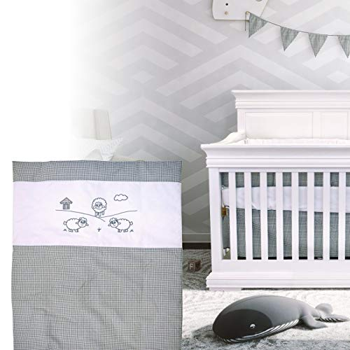 BOOBEYEH & DESIGN 5PCS Bedding for Baby -Sheep Pattern, Grey and White