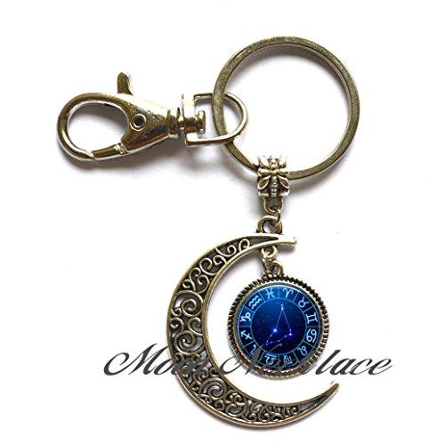 (Charm Moon Keychain,Aquarius Star Wheel Moon Keychain, Aquarius Moon Keychain constellation Moon Keychain constellation jewelry Moon Key Ring-ZE259)