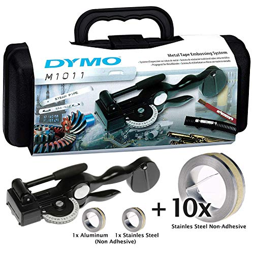 DYMO Tapewriter Metal Tape Embosser (M1011) KIT with 10 Stainless Steel Non Adhesive Tape ()