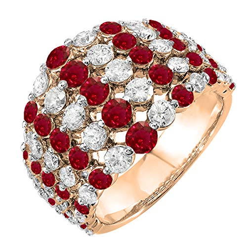 Ruby Right Hand Ring - 10K Round Ruby & White Diamond Ladies Engagement Cocktail Right Hand Ring, Rose Gold, Size 7