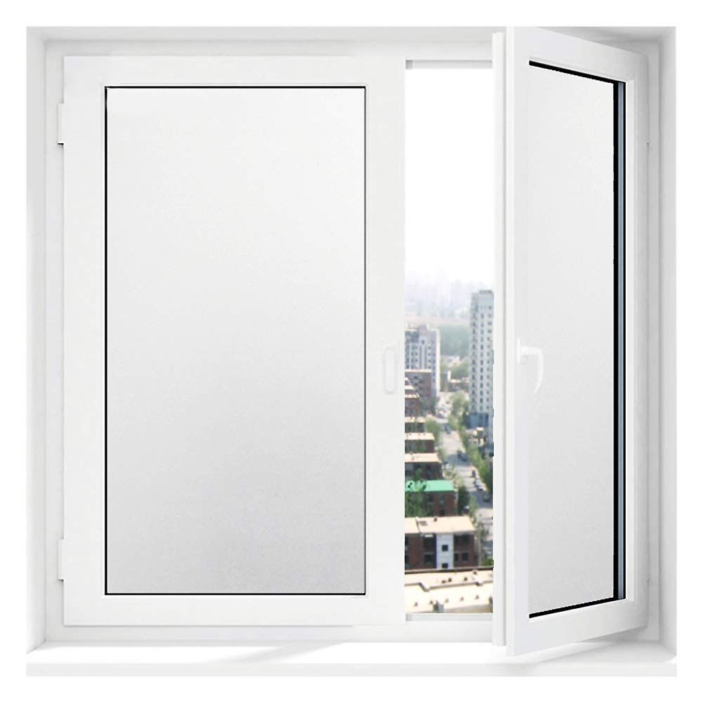 Static Cling Opaque Frosted Glass Film, Privacy Window Film Frosted Glass Film Shower Uv Prevention, Window Films Office Living Room-White 20x500cm(8x197inch) ncnnsdjk