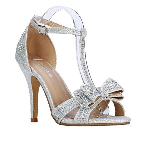 Forever Link Alina-64 Rhinestone Glitter Tstrap Bow Detail Formal Heel (5.5, Silver)
