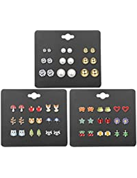 27 Pairs Multiple Stud Earrings for Women Girls Cute Animal-Face Crystals and Faux Pearl Earrings Set