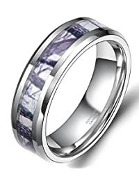 6mm 8mm Camouflage Tungsten Ring Men Women Winter Branch Hunting Camo Wedding Band Size 5-13