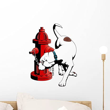 American bulldog fire hydrant wall decal by wallmonkeys peel and stick graphic 18 in h