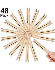Boao 48 Piezas Pinza de Madera de Ropa Pinza de Muñeca de Madera Tradicional para Cuerda de Lavado y Manualidades