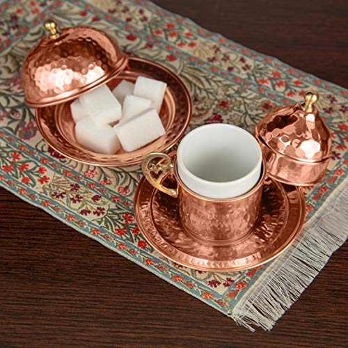 Copper Turkish Coffee Set, Two, Greek Armenian Arabic Espresso Porcelain Cups, Tray & Cezve by Mandalina Magic by Mandalina Magic (Image #7)
