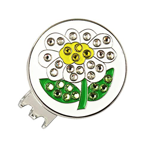 PINMEI Magnetic Golf Hat Clip with Bling Golf Ball Marker for Kids Women (us Flower Clip)