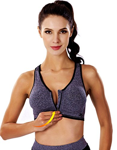 BRABIC Women's High Impact Sports Bras Front Zipper Padded Push Up Grey