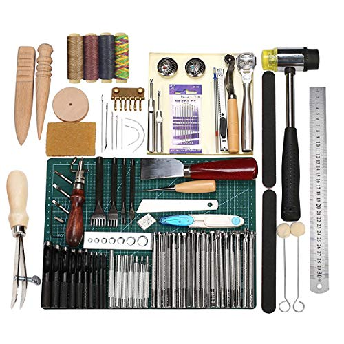 Leathercraft Working Tools Kit, Leather Craft Stamping Tools with Cutting Mat, Stitching Groover, Prong Punch, Snaps, Rivets Kit and Professional Stitching Sewing Tools for DIY Leathercraft