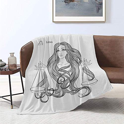 Jecycleus Zodiac Libra, Throw Blanket, Sketch of a Girl Long Wavy Hair Scales Monochrome Illustration, Lightweight Blanket Extra Big 60x36 Inch Black and White