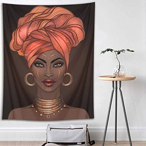LB Tribal African American Tapestry Wall Hanging,Traditional African Black Girl with Tribal Dress Afrocentric Wall Tapestry for Living Dining Room College Dorm Home Decor 93 Wx71 L
