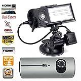 Dual Lens Dash Cam - 2.7-Inch Full HD 1080P Car DVR 140° Degree CCTV Dash Cam G-sensor Car Vehicle On-Dash Video Camcorder Support GPS Module Silver