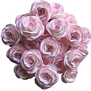 Thai Decored Flowers Wholesale 25 Artificial Mulberry Paper Rose Heads Bulk Flowers 5 cm for Flower Wall Kissing Balls Wedding Supplies (Coral White Pink) 94
