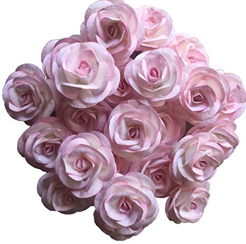 (Thai Decored Flowers Wholesale 25 Artificial Mulberry Paper Rose Heads Bulk Flowers 5 cm for Flower Wall Kissing Balls Wedding Supplies (Coral White Pink))