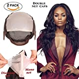 LEEONS 2pcs Brown Double Front Lace and Mono Net Lace Wig Caps For Making Wigs With Adjustable Strap Weaving Caps for Women