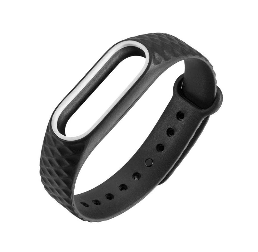 Singleluci Xiaomi Mi Band 2 Silicone Watch Band Wrist Strap Bracelet Replacement BK
