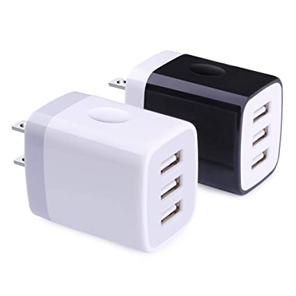 Charging Brick, Wall Plug, Hootek 2Pack 3.1A 3-Muti Port USB Charger Cube Charging Block Base Charger Box Compatible iPhone XS/XS MAX/X/8/7/6S Plus, ...