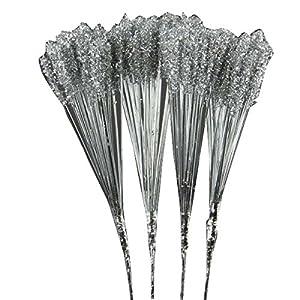 "Shinoda Design Center 0031300404 14.5"" Silver PVC Stem with Glitter 12 Piece 19"