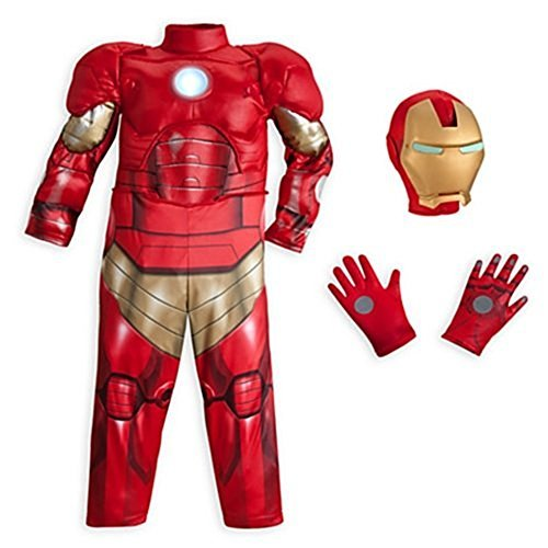 Disney Store Little Boys Deluxe Iron Man Light Up Costume Sz 7/8 Red