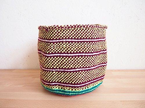 Lemon Planter (Small African Yarn Basket/Kenya Kiondo Storage Basket/Woven Planter/Lemon-Lime, Burgundy, White)